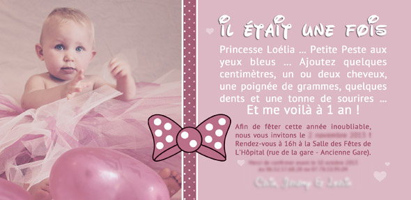 invitation anniversaire 1 an de lo lia. Black Bedroom Furniture Sets. Home Design Ideas