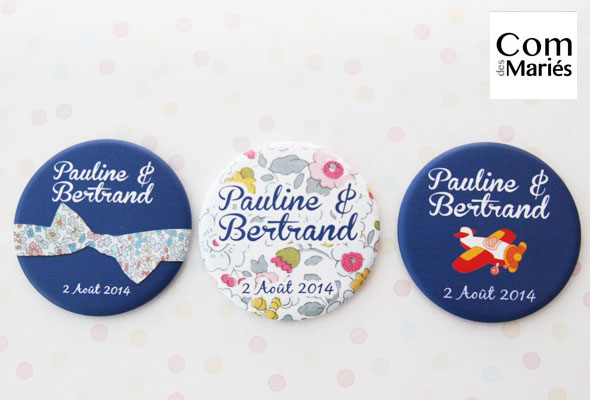 Magnets 56mm « Pauline & Bertrand »